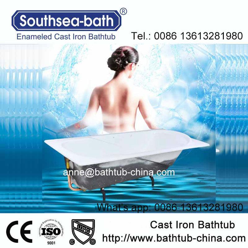Simple Drop-in Commen Soaking Cast Iron Bathtub 3
