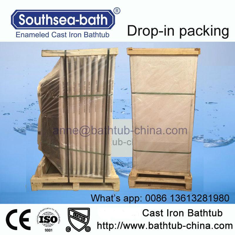 Simple Drop-in Commen Soaking Cast Iron Bathtub 4