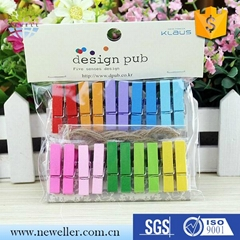 50 Pcs Colourful Wood Clothespin Memo Paper Clamp Clips Folder Clothespins Photo