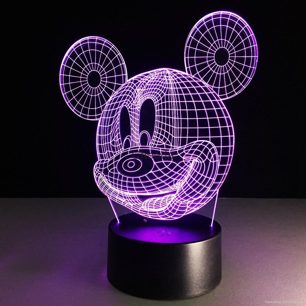 Funny cartoon design baby products Mickey Mouse shape 3d led desk lamp 3