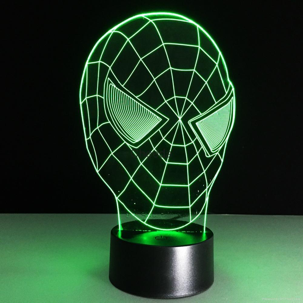 3D Spider-Man 7 Color Changing LED Night Light Energy Saving Desk Lamp 4
