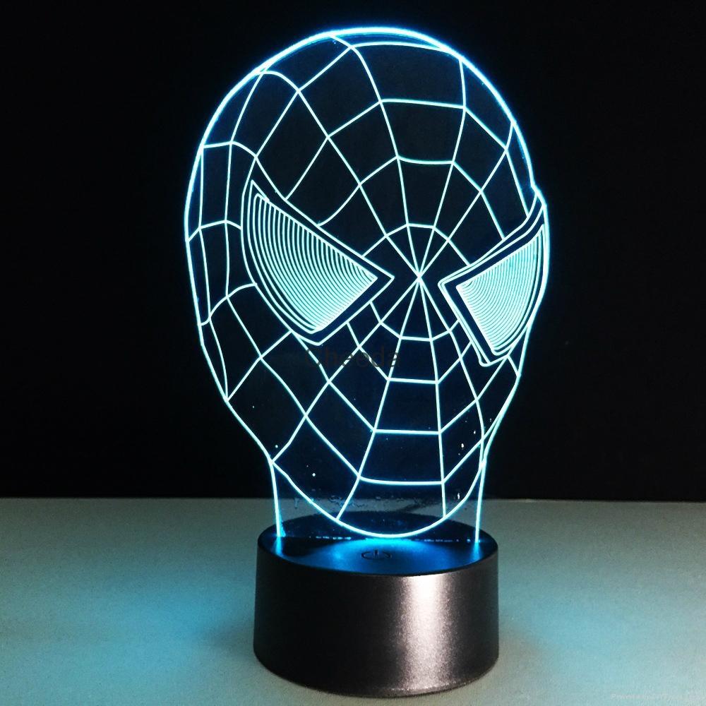 3D Spider-Man 7 Color Changing LED Night Light Energy Saving Desk Lamp 2