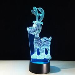 Reindeer shape amazing 3d illusion mini led light night lamp chrismas deco light
