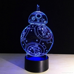 Intelligent Robot Shape 3D Visual Led Night Light Decoration Table Lamp