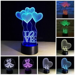 Acrylic 3D Illusion Lamp Colorful  LED Night Lights  Love Heart I LOVE YOU  Lamp