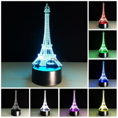 Luminarias Fancy Eiffel Tower Led Light 3D LED Night Light  Bady Room Night Lam