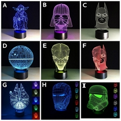 Luminarias Lamp Star Wars 3D  Visual Night Lights Table lamp