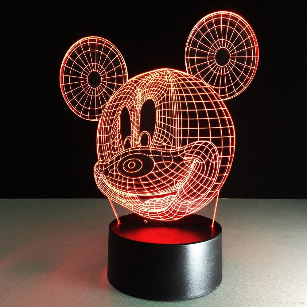 Funny cartoon design baby products Mickey Mouse shape 3d led desk lamp 5