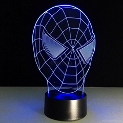 3D Spider-Man 7 Color Changing LED Night Light Energy Saving Desk Lamp