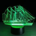 Creative 3D Sailboat LED Night Light Lamp 7 Colorful Change USB Desk Light Lamp 2