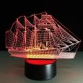 Creative 3D Sailboat LED Night Light Lamp 7 Colorful Change USB Desk Light Lamp 3
