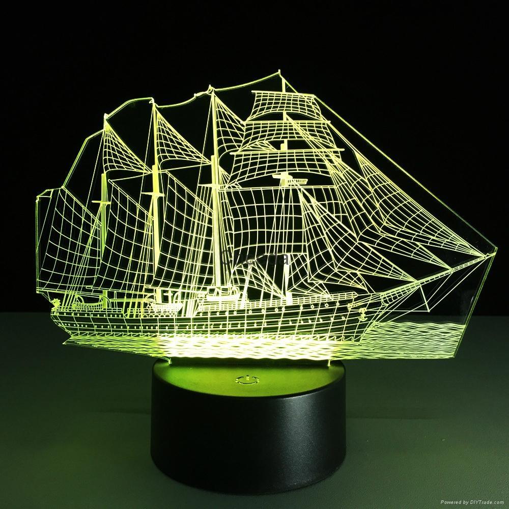 Creative 3D Sailboat LED Night Light Lamp 7 Colorful Change USB Desk Light Lamp 4