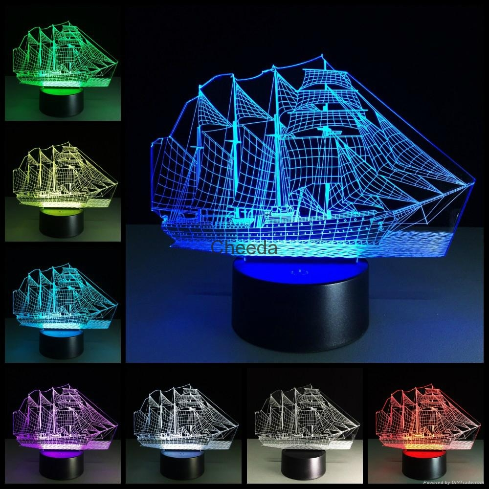 Creative 3D Sailboat LED Night Light Lamp 7 Colorful Change USB Desk Light Lamp 1