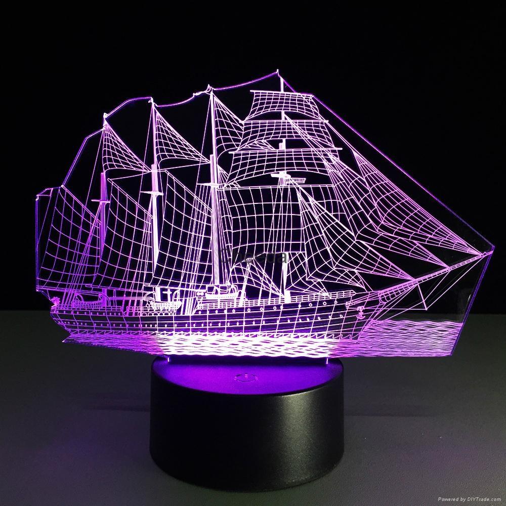 Creative 3D Sailboat LED Night Light Lamp 7 Colorful Change USB Desk Light Lamp 5