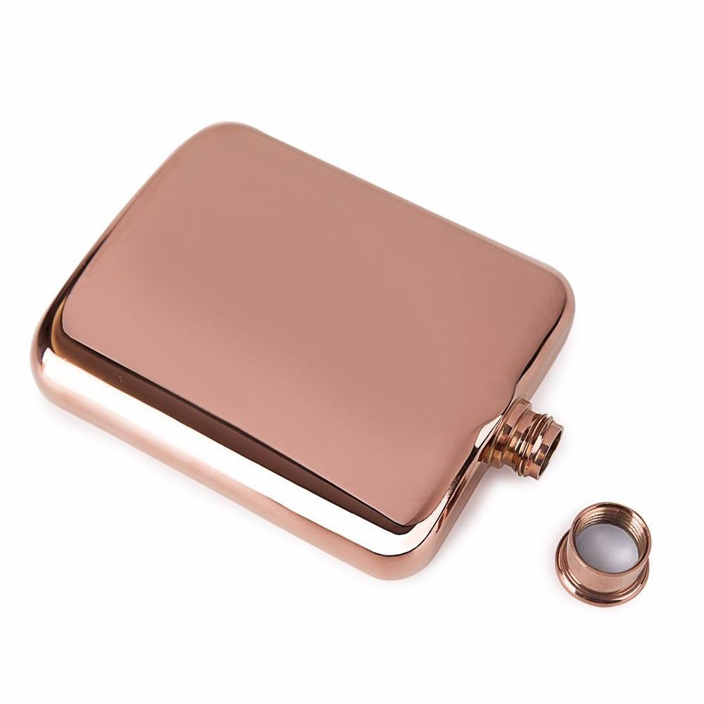 6 oz Rose Gold Stainless steel hip flask with electroplating 5