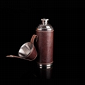 Portable stainless steel 8OZ cylindrical wine pot set hip flask with cups 2