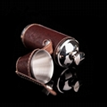Portable stainless steel 8OZ cylindrical wine pot set hip flask with cups 4