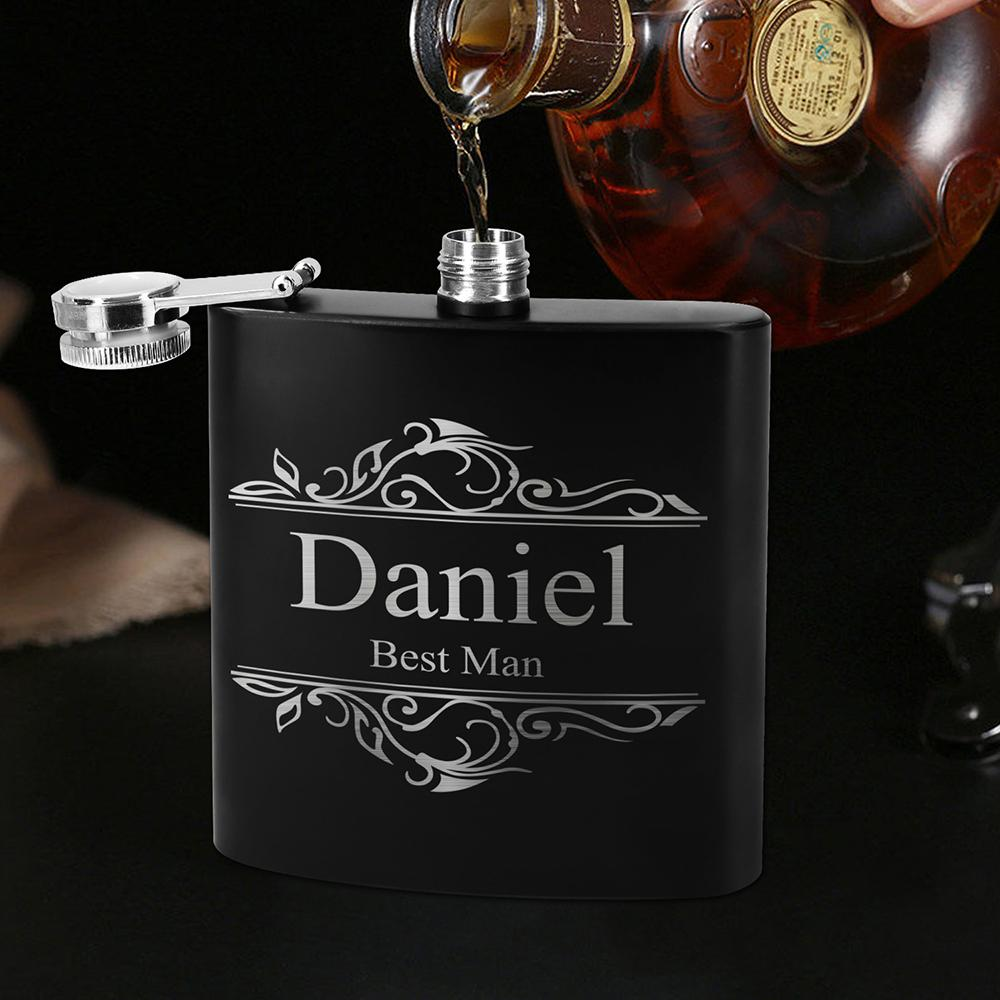8oz stainless steel hip flask with leather hip flask gift set for promotion 1