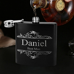 8oz stainless steel hip flask with leather hip flask gift set for promotion