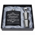 8oz stainless steel hip flask with leather hip flask gift set for promotion 5