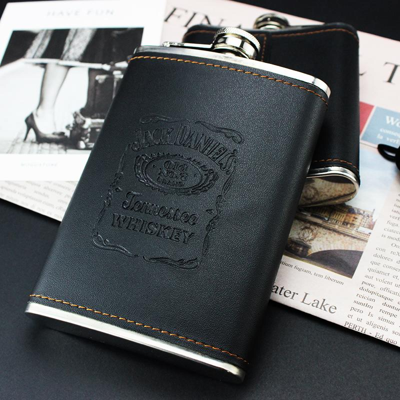 OEM whisky wrapped stainless steel hip flask 1