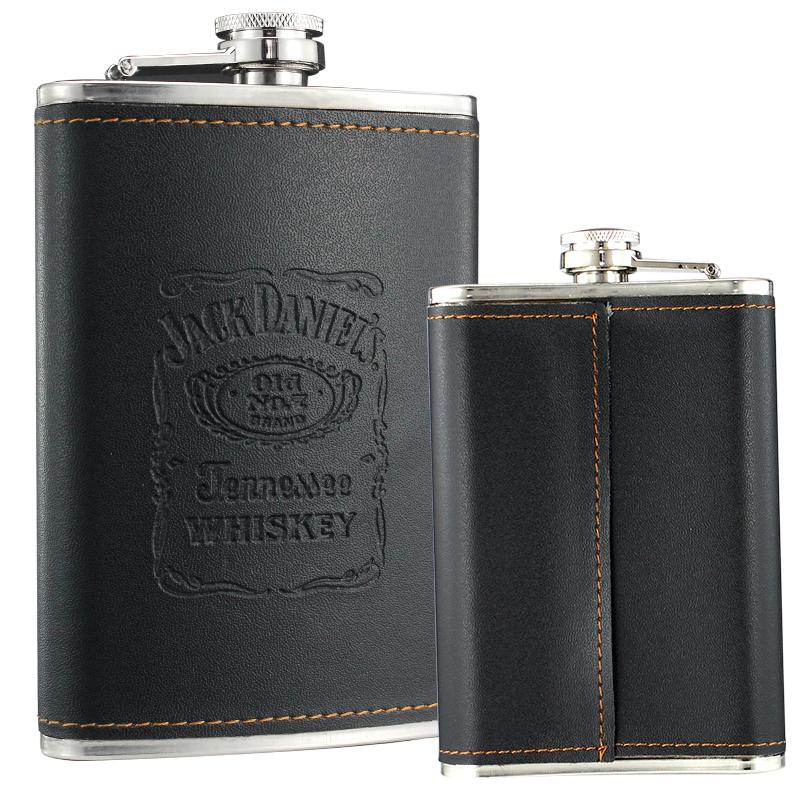 OEM whisky wrapped stainless steel hip flask 2