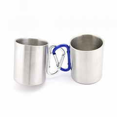 Outdoor double wall stainless steel travel coffee mug with Carabiner Handle