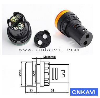 Led Pilot Lamp Signal Light Indicator Light 22mm AD26B-22DS  Yellow 3