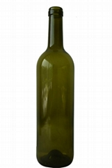 750ML Antique Green Bordeaux Glass Wine Bottle