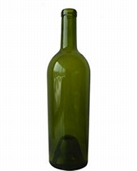 750ML Antique Green Bordeaux/Conical Glass Wine Bottle with Cork