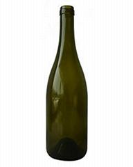 750ML Antique Green Burgundy Glass Wine Bottle with Cork