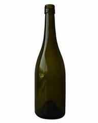 750ML Antique Green Burgundy Screw Glass Wine Bottle
