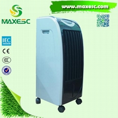 Maxesc portable indoor air cooling fan air cooler with evaporative cooling pad.