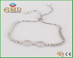 Factory price fashion design micropave jewelry adjustable 925 silver bracelet