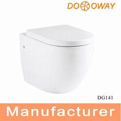 Ceramic washdown toilet seat on floor