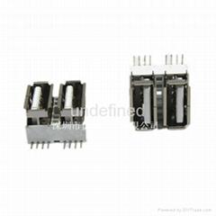 USB連接器2.0 母座側插雙層