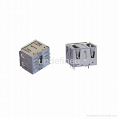 USB連接器2.0 母座180度直插10.5雙層系列