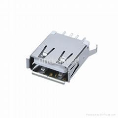 USB連接器2.0 母座180度直插13.7系列