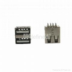 USB連接器2.0 母座180度雙層14.2