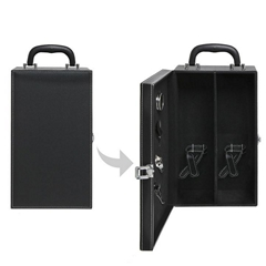 2 Bottle Top Handle Wine Carrier Case with 4 Piece Wine Accessory Set