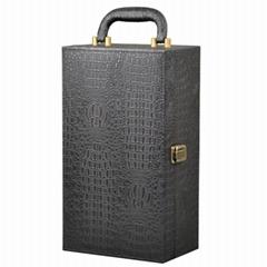 2 Bottle Alligator Pattern PU Leather Wine Box