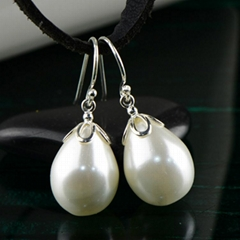Wholesale waterdrop shaped pearl S925 sterling silver  Earrings