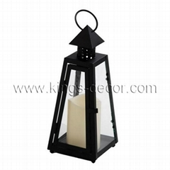 Decorative pyramid black metal glass led candle lantern