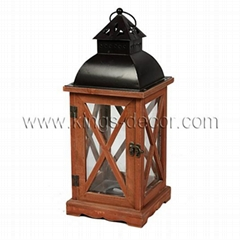 Black metal top brown wood led candle lantern