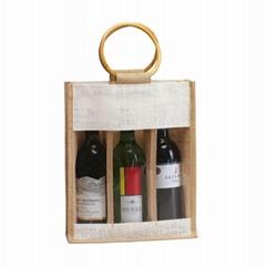Handbag bottle jute bag jute wine bag jute bag with pvc window