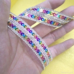 hotfix sequin rhinestone glitter chain with back glue
