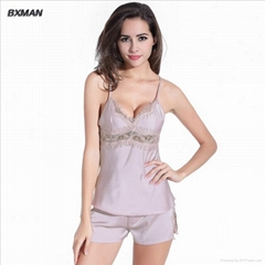 V-neck Silk Pajamas with Short Pants For Women
