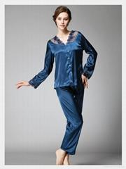 Long - Sleeve Silk Pajamas With Long Pants