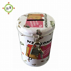 Round Coin Bank Tin