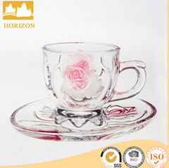 Wholesale beautiful flower glass coffee cup and saucer set